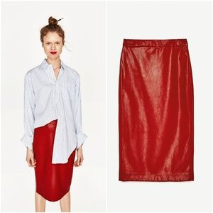 NWT Zara Size S Red Faux Leather Pencil Skirt